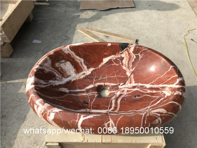 Chinese Rosa corral marble bath vessel sinks natural stone wash basin