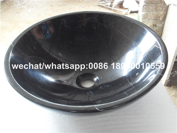 Black Marquina Marble Bathroom Round Vessel Sinks Stone Wash Basin