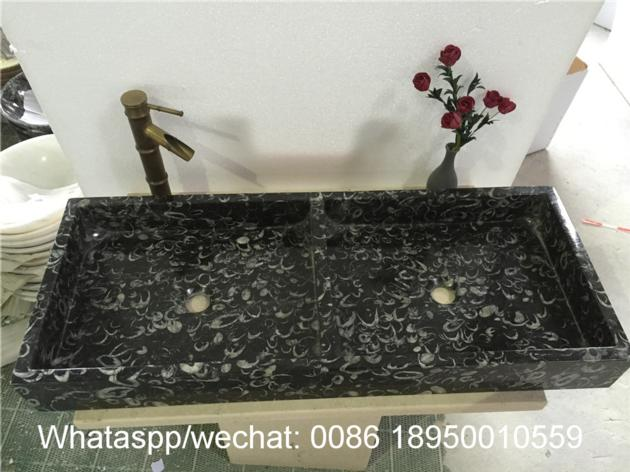 Black Sea Shell Marble Bath Rectangle Sinks Wash Basin