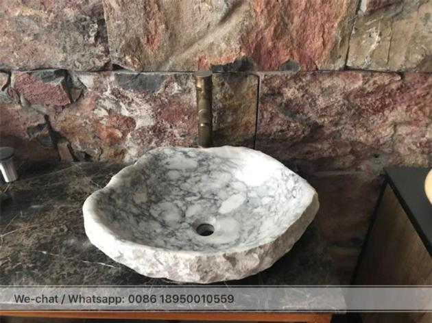 China Carrara Grey Marble Bath vessel sink stone wash basin