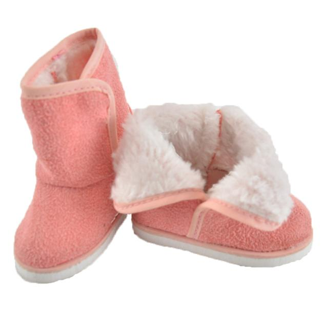 Everyest Handmade Fashion Ladies Flat Boots Cotton Pink 18inch Girl Doll Shoes