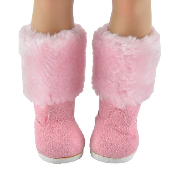 Everyest Handmade Newest Ladies Flat Boots Cotton Pink 18inch Girl Doll Shoes