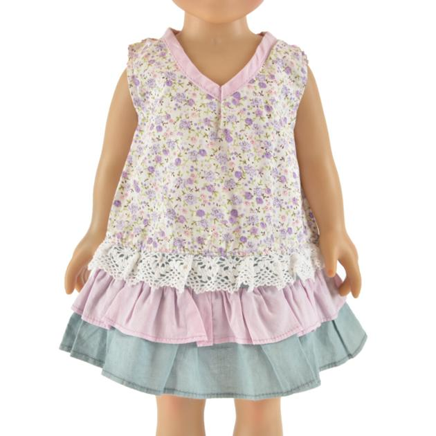 hot selling purple 18 inch flower doll dress little girl doll clothes