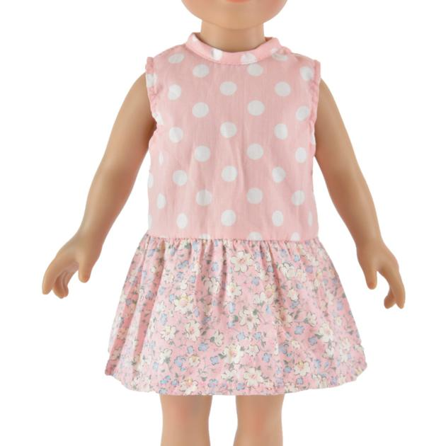 pink dot doll dress for 18inch baby girl doll